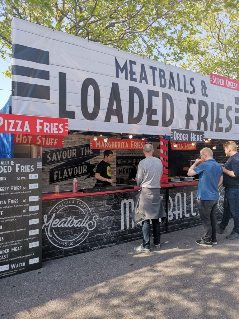 yum street pizza fries and meatballs